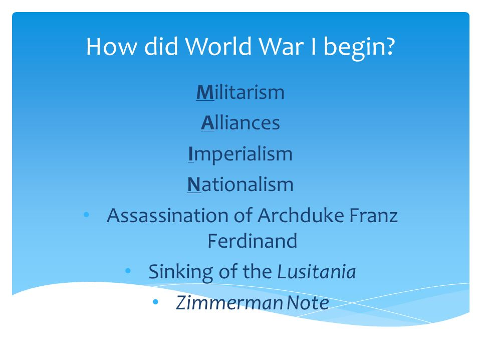How did World War I begin