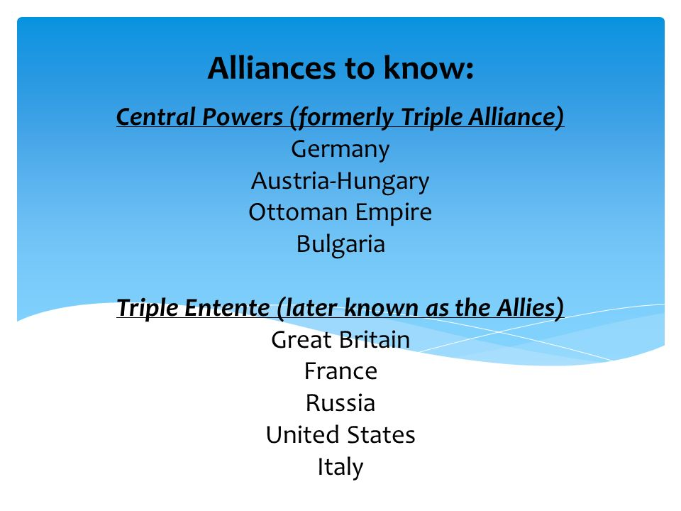 Alliances to know: