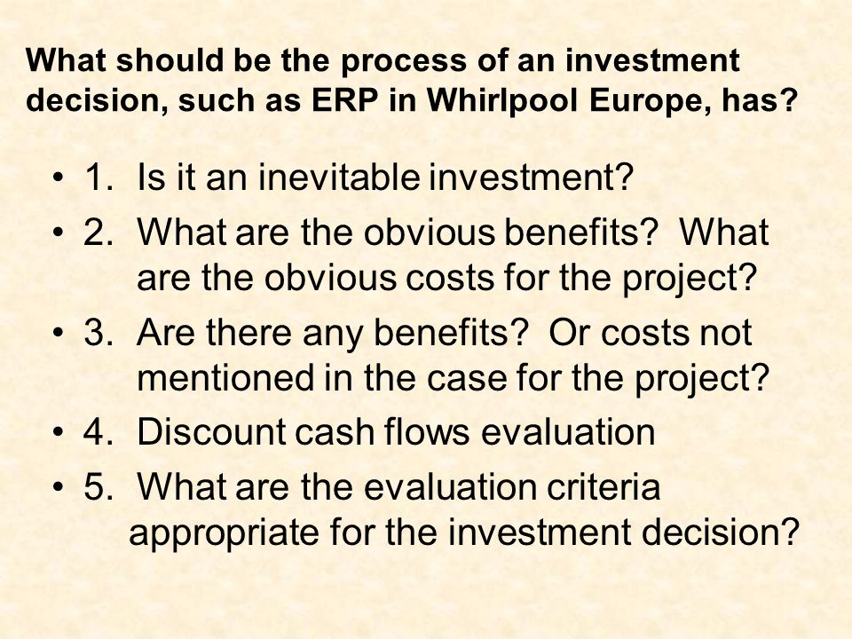 An Erp Investment Decision Ppt Download