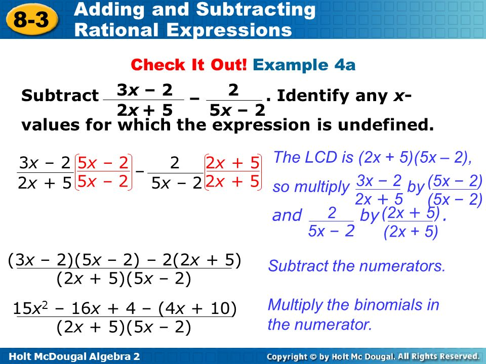 Objectives Add And Subtract Rational Expressions Ppt Video Online. Exle 4a Subtract Identify Any Xvalues For Which The. Worksheet. Adding And Subtracting Rational Expressions Worksheet Answers 8 2 At Mspartners.co