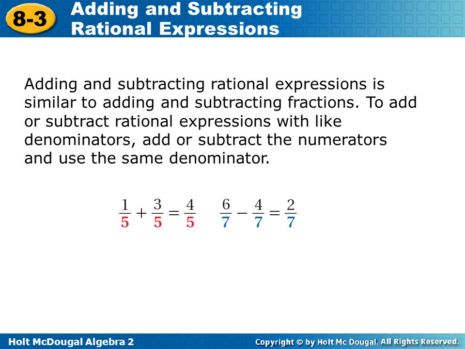 Objectives Add And Subtract Rational Expressions Ppt Video Online. Adding And Subtracting Rational Expressions Is Similar To Fractions. Worksheet. Adding And Subtracting Rational Expressions Worksheet Answers 8 2 At Mspartners.co