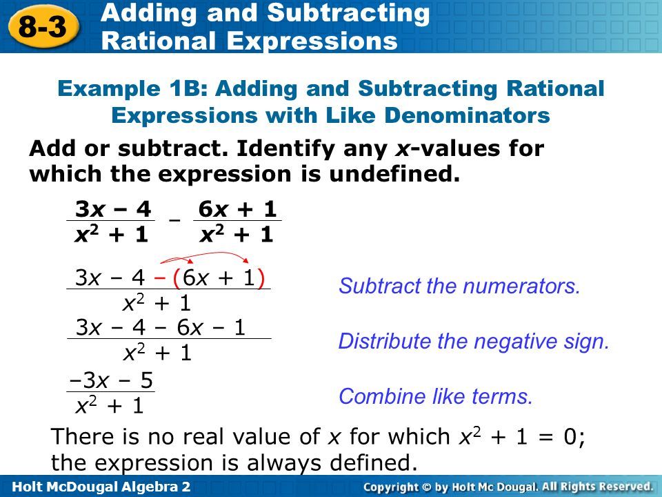 Objectives Add And Subtract Rational Expressions Ppt Video Online. Exle 1b Adding And Subtracting Rational Expressions With Like Denominators. Worksheet. Adding And Subtracting Rational Expressions Worksheet Answers 8 2 At Mspartners.co