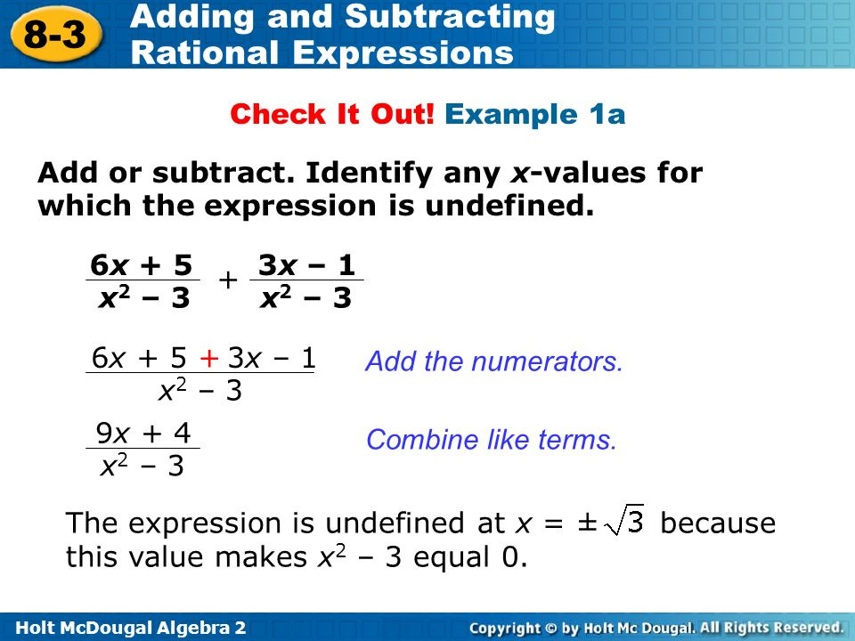 Objectives Add And Subtract Rational Expressions Ppt Video Online. Exle 1a Add Or Subtract Identify Any Xvalues For. Worksheet. Adding And Subtracting Rational Expressions Worksheet Answers 8 2 At Mspartners.co