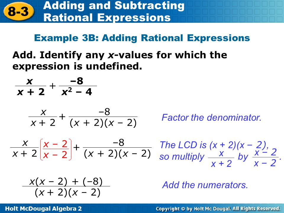 Objectives Add And Subtract Rational Expressions Ppt Video Online. Exle 3b Adding Rational Expressions. Worksheet. Adding And Subtracting Rational Expressions Worksheet Answers 8 2 At Clickcart.co