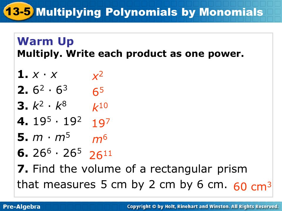 Multiplying Polynomials By Monomials Ppt Download