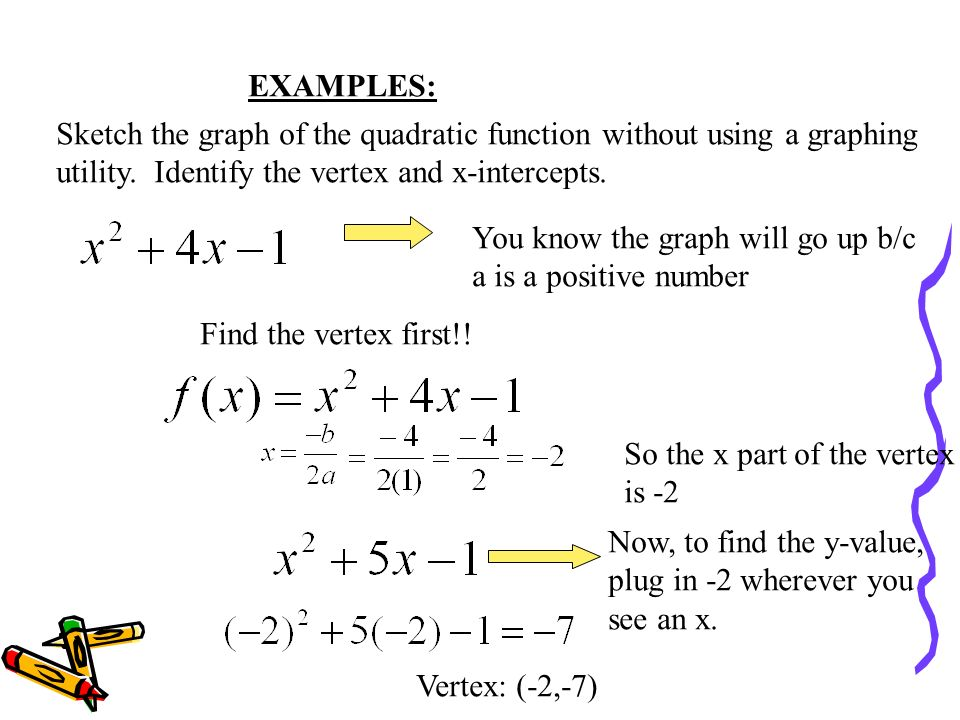 EXAMPLES: Sketch the graph of the quadratic function without using a graphing. utility. Identify the vertex and x-intercepts.