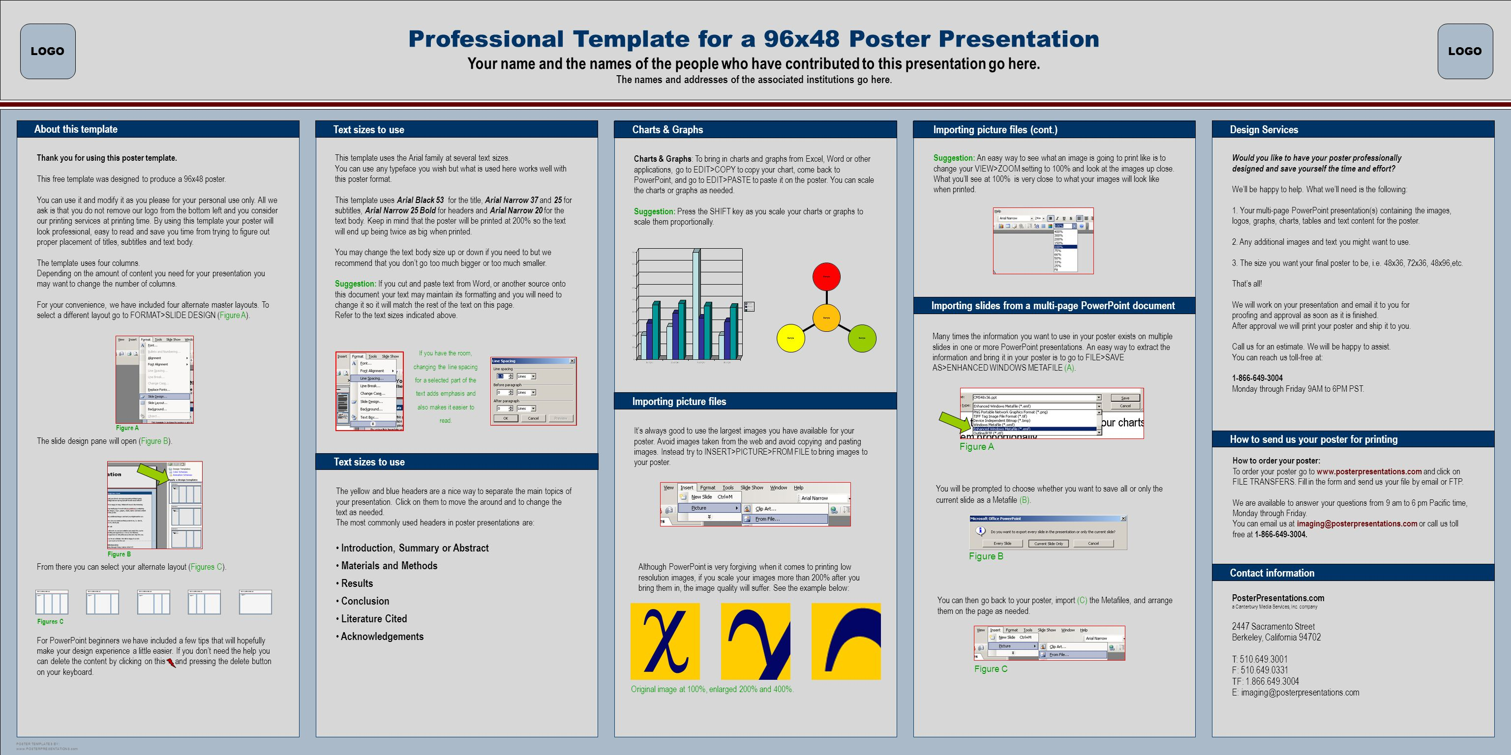 LOGO Professional Template For A 96x48 Poster Presentation Your Name