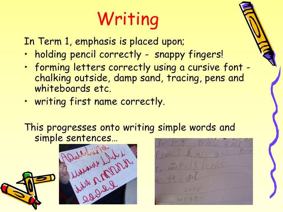 Writing In Term 1, emphasis is placed upon;