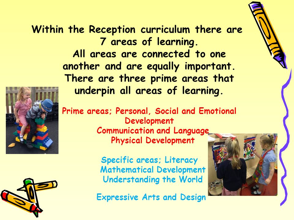 Within the Reception curriculum there are 7 areas of learning