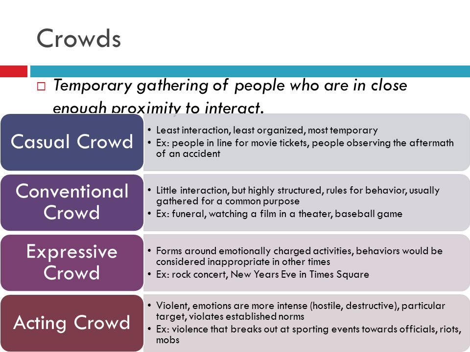 Crowds Casual Crowd Conventional Crowd Expressive Crowd Acting Crowd