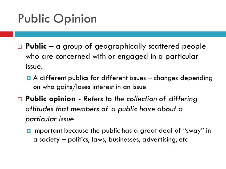 Public Opinion Public – a group of geographically scattered people who are concerned with or engaged in a particular issue.