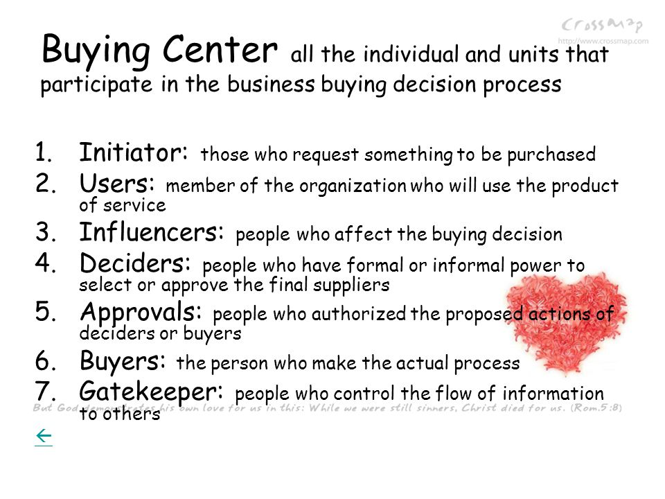 Buying Center all the individual and units that participate in the business buying decision process