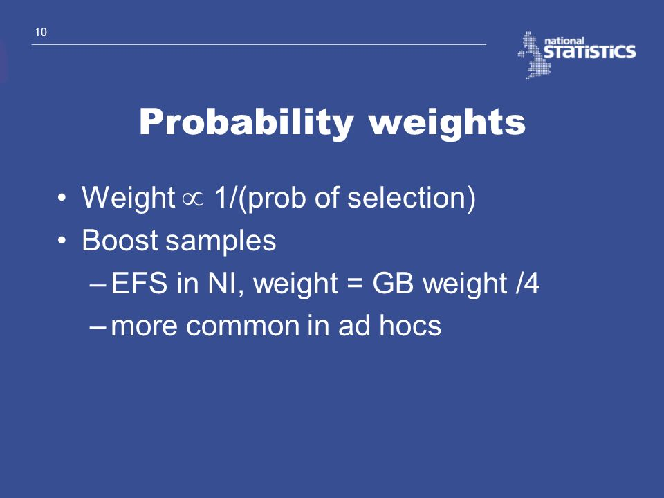 Probability weights Weight µ 1/(prob of selection) Boost samples