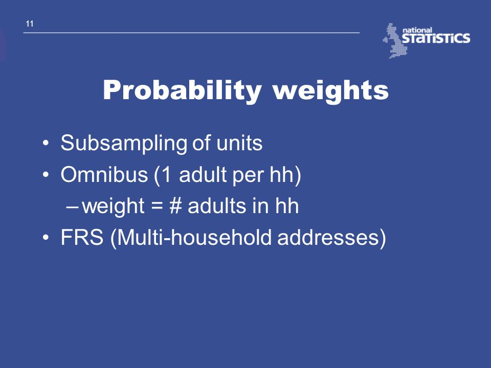 Probability weights Subsampling of units Omnibus (1 adult per hh)