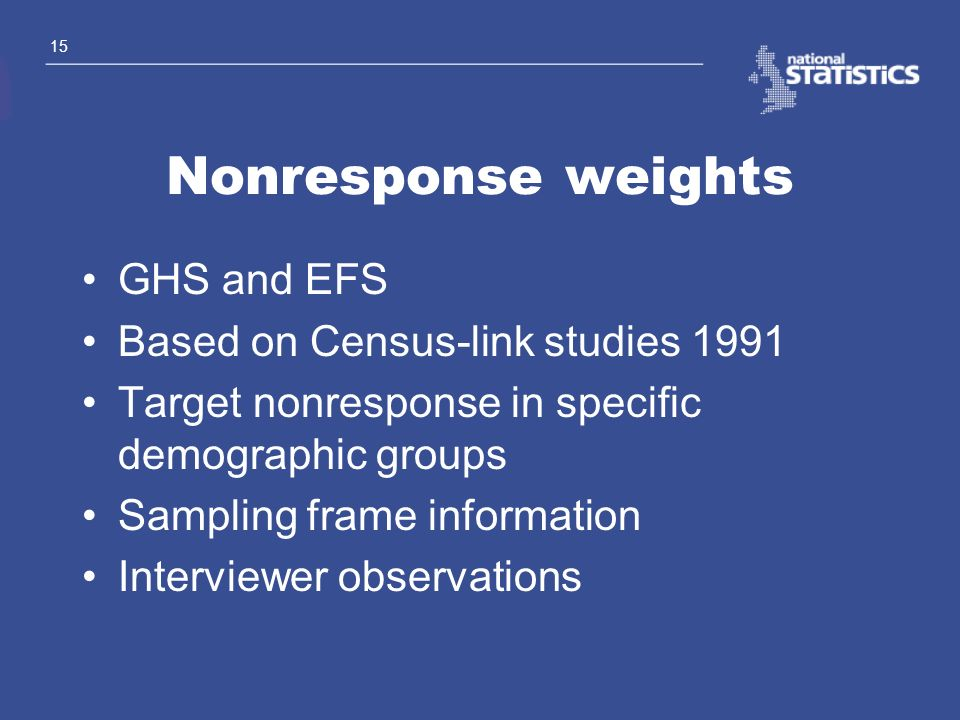 Nonresponse weights GHS and EFS Based on Census-link studies 1991