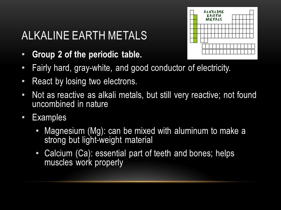 Chapter 3 elements and the periodic table ppt video online download 15 alkaline earth metals group 2 of the periodic table urtaz Images