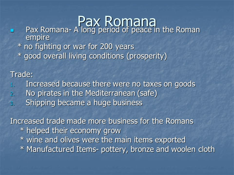 what year was the pax romana