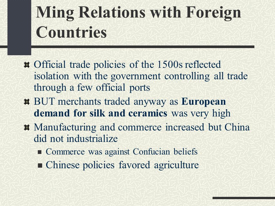 Ming Relations with Foreign Countries