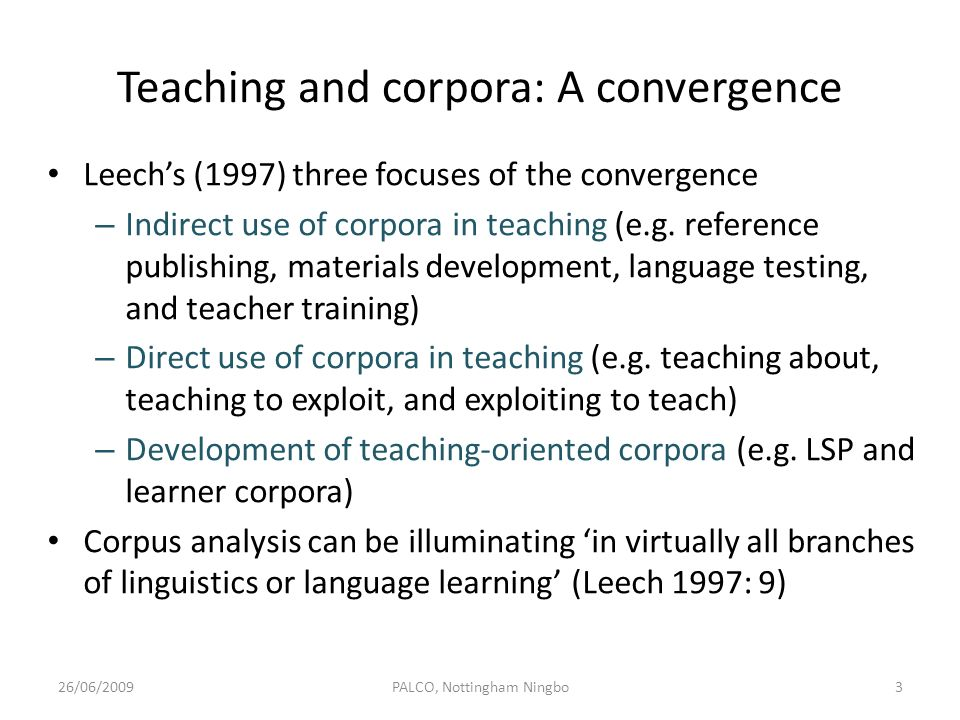 Teaching and corpora: A convergence
