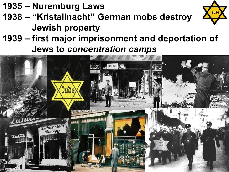 1935 – Nuremburg Laws 1938 – Kristallnacht German mobs destroy Jewish property 1939 – first major imprisonment and deportation of Jews to concentration camps