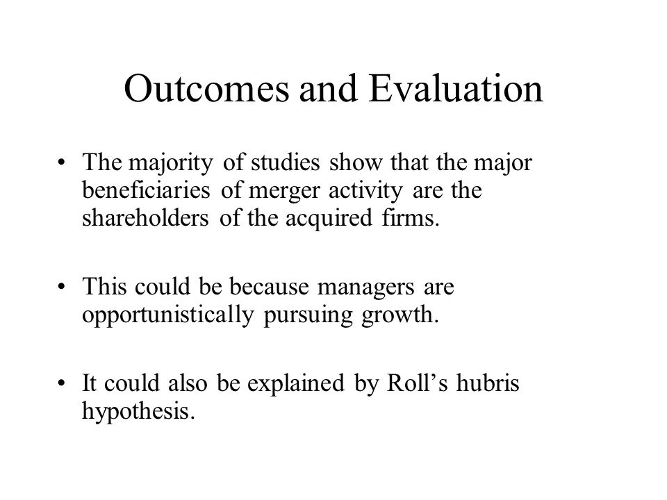 Outcomes and Evaluation