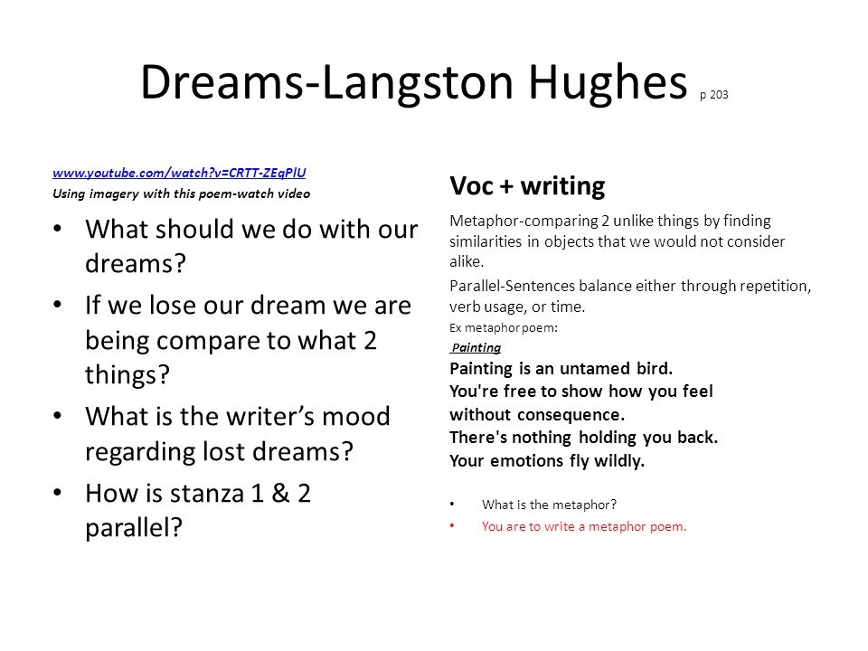 dreams by langston hughes imagery