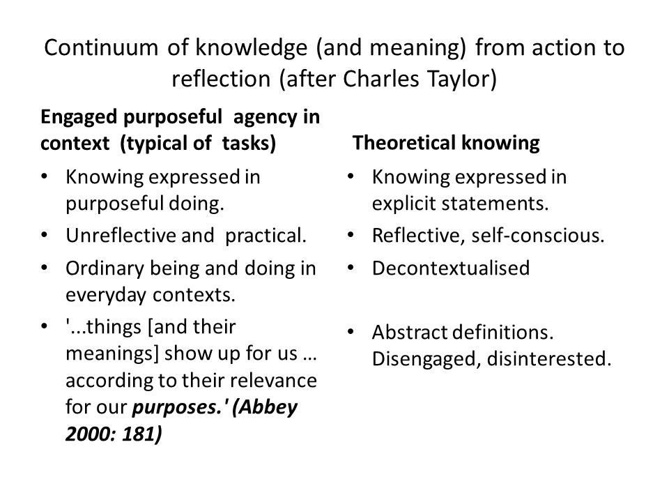 Continuum of knowledge (and meaning) from action to reflection (after Charles Taylor)