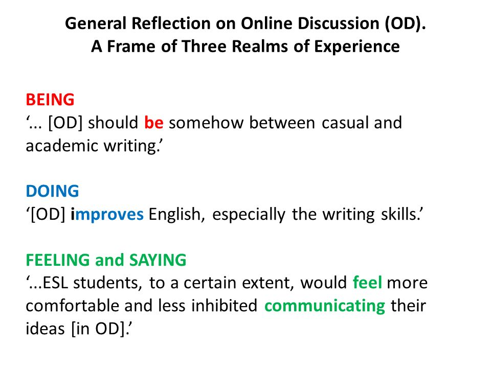 General Reflection on Online Discussion (OD)