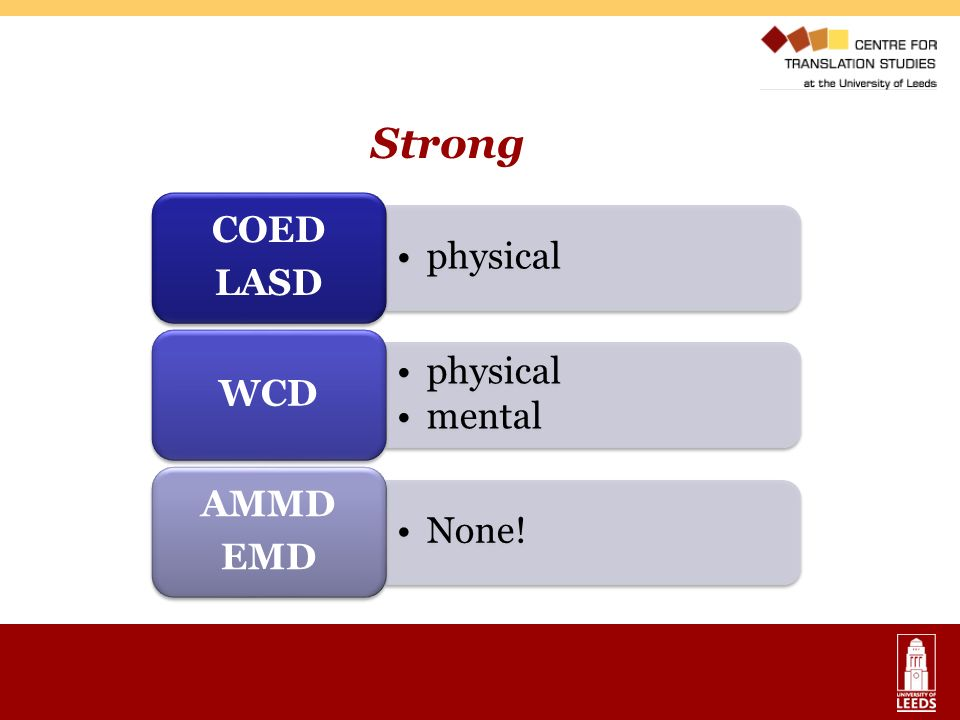Strong COED LASD physical WCD mental AMMD EMD None!
