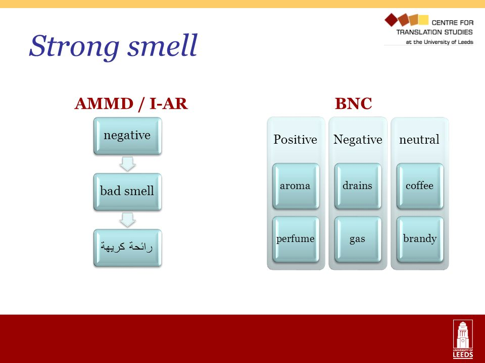 Strong smell AMMD / I-AR BNC aroma drains gas coffee brandy negative