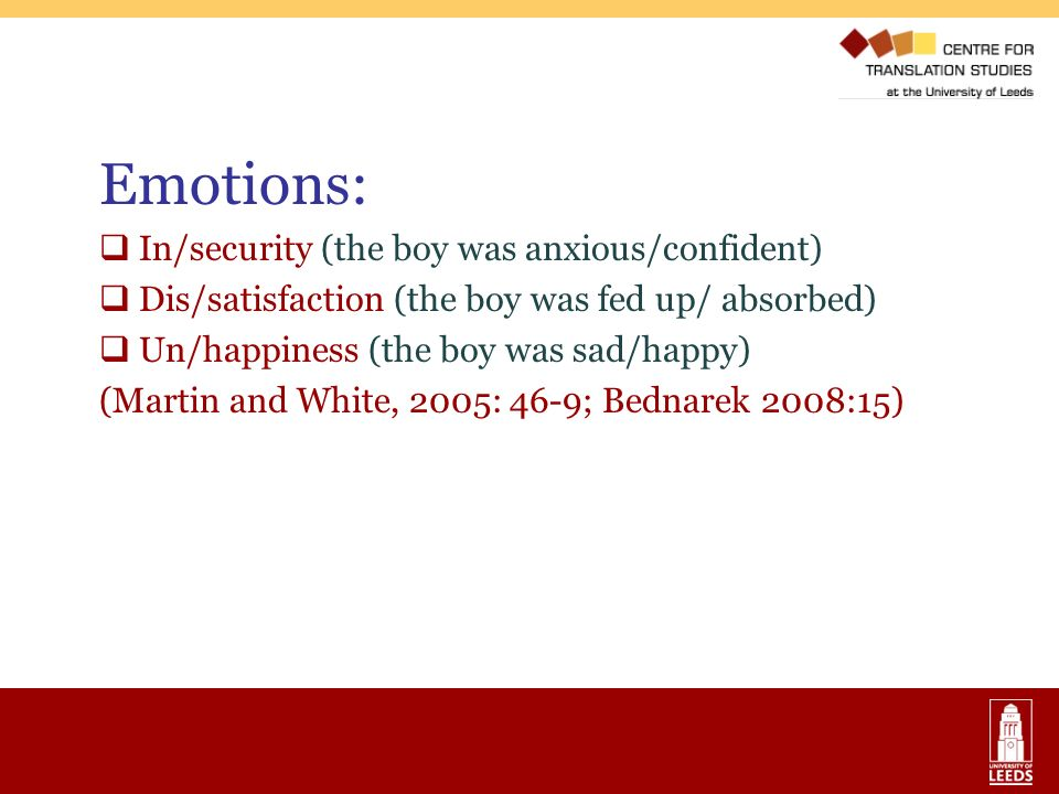 Emotions: In/security (the boy was anxious/confident)