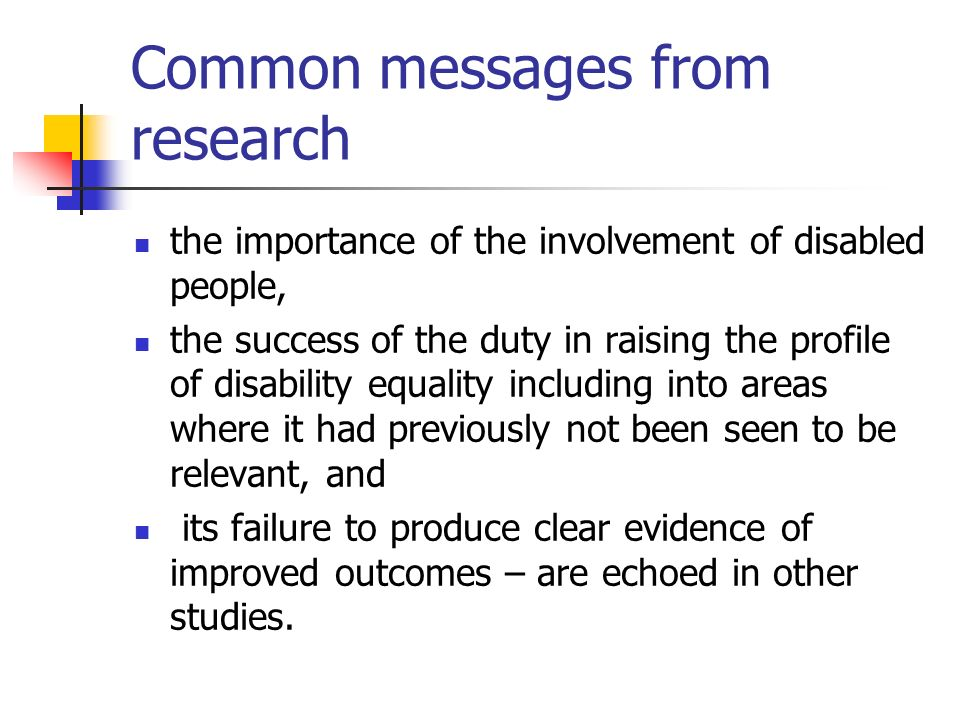 Common messages from research