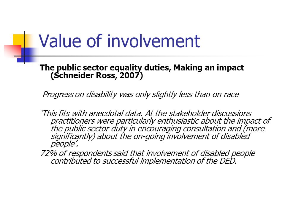 Value of involvement The public sector equality duties, Making an impact (Schneider Ross, 2007)