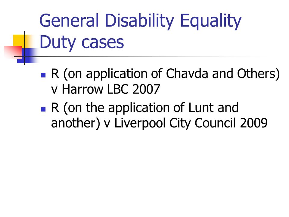 General Disability Equality Duty cases