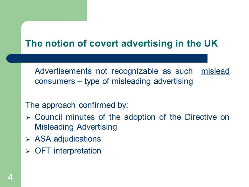 The notion of covert advertising in the UK