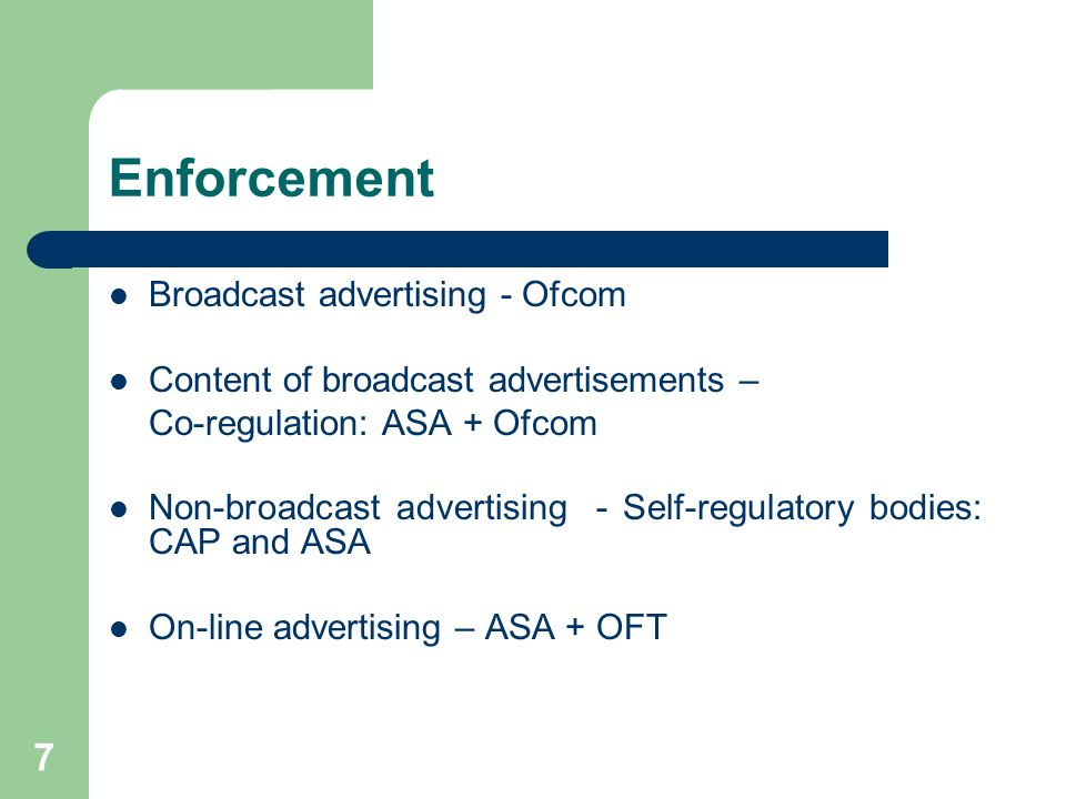 Enforcement Broadcast advertising - Ofcom