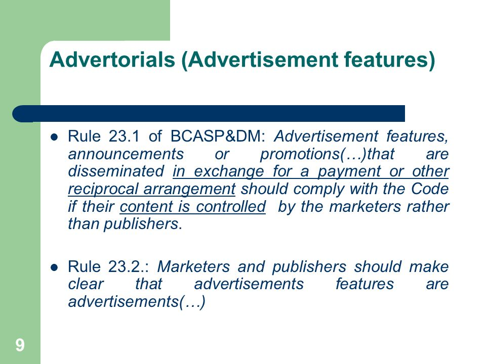 Advertorials (Advertisement features)