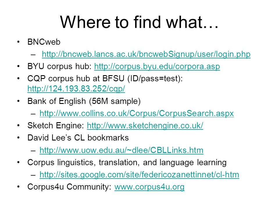 Where to find what… BNCweb
