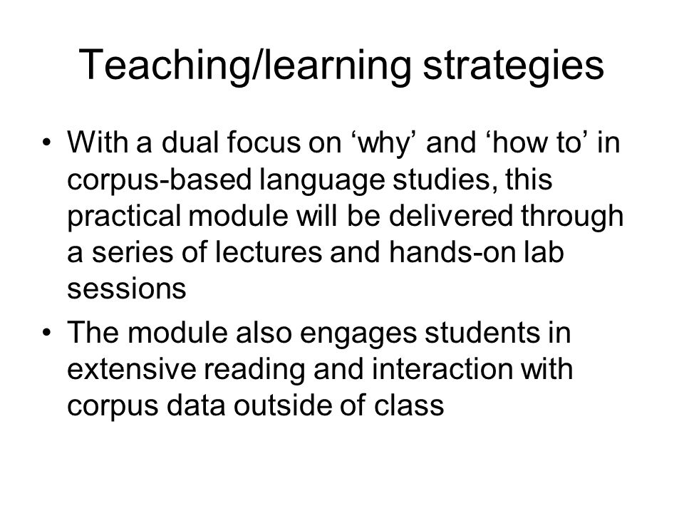Teaching/learning strategies