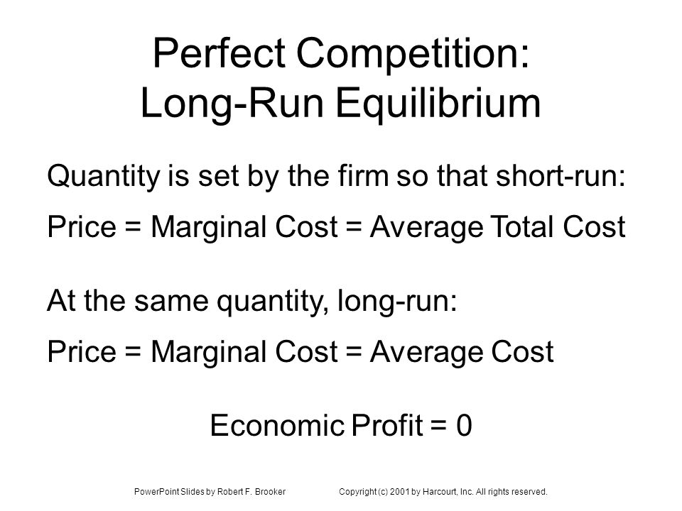 Perfect Competition: Long-Run Equilibrium
