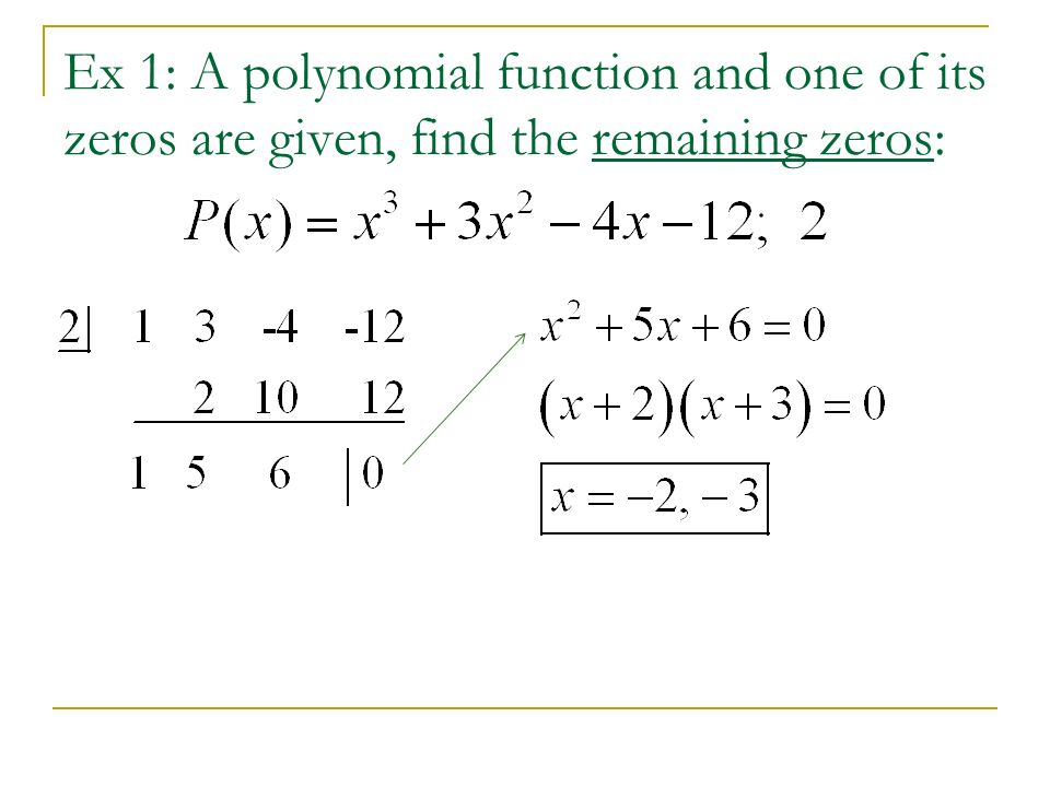 Ex 1: A polynomial function and one of its zeros are given, find the remaining zeros: