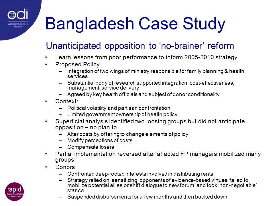 Bangladesh Case Study Unanticipated opposition to 'no-brainer' reform