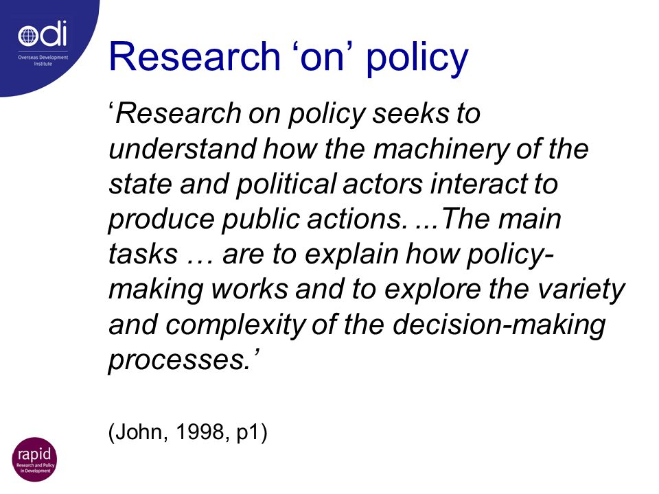 Research 'on' policy