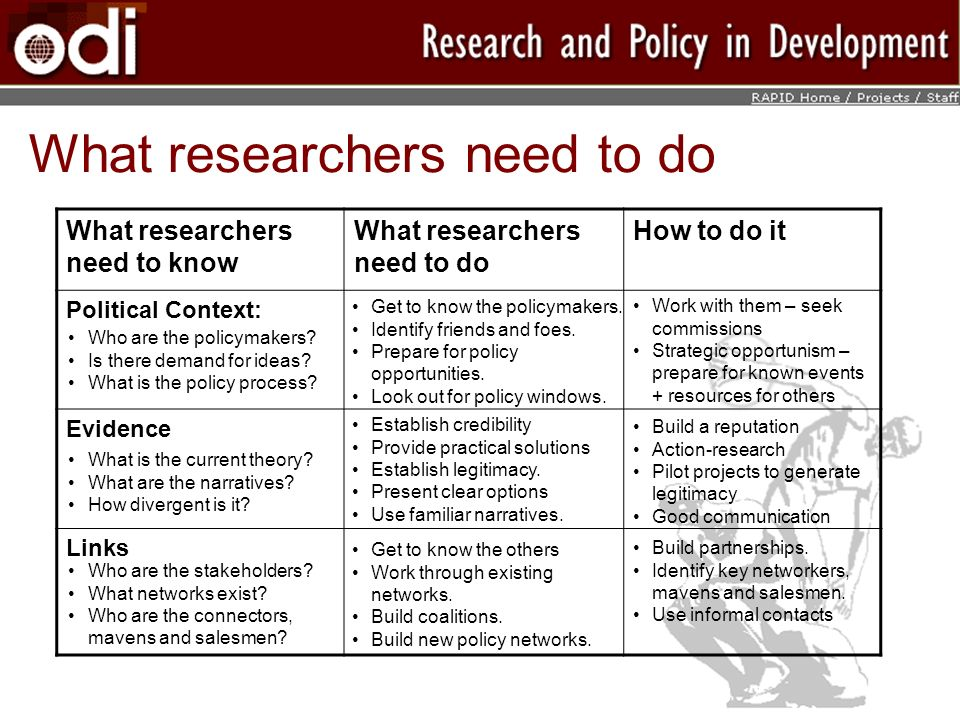 What researchers need to do
