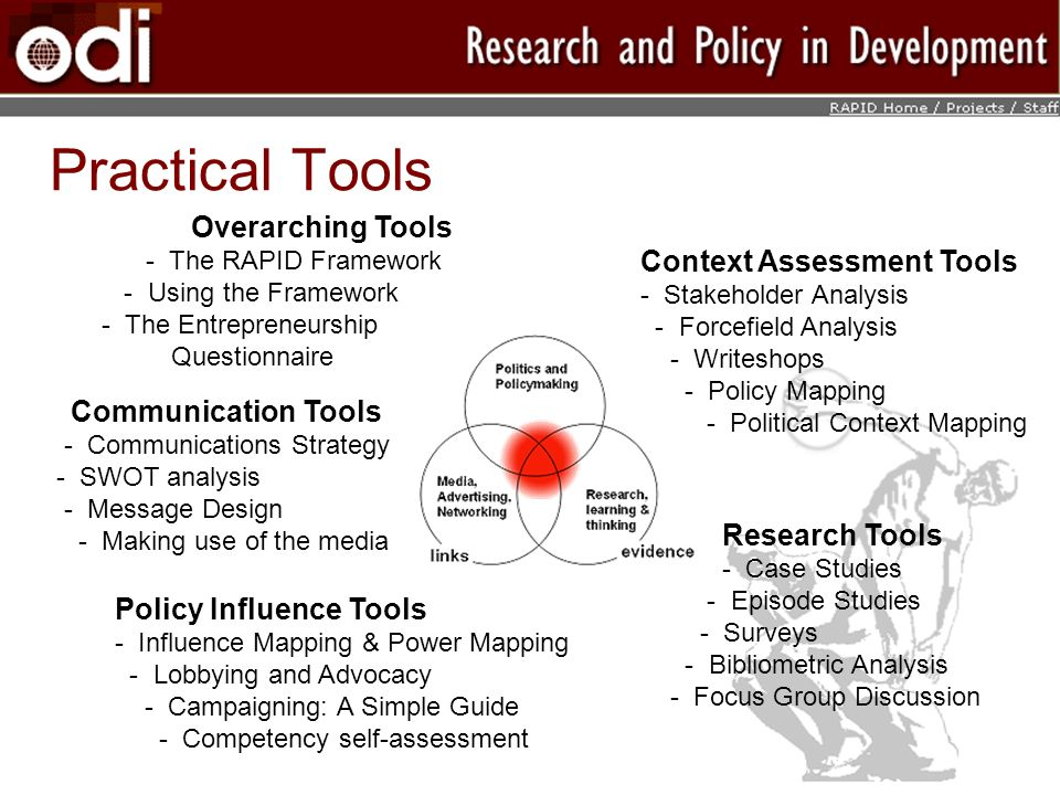 Practical Tools Overarching Tools Context Assessment Tools