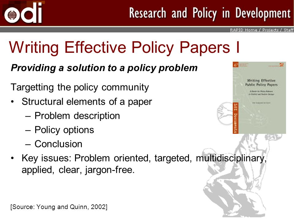 Writing Effective Policy Papers I