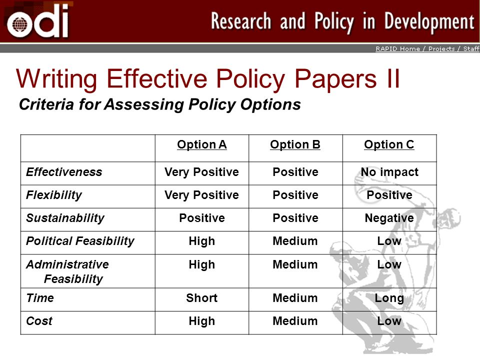 Writing Effective Policy Papers II