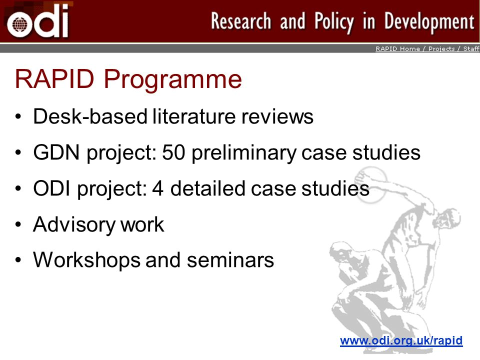 RAPID Programme Desk-based literature reviews