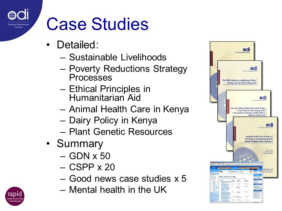 Case Studies Detailed: Summary Sustainable Livelihoods