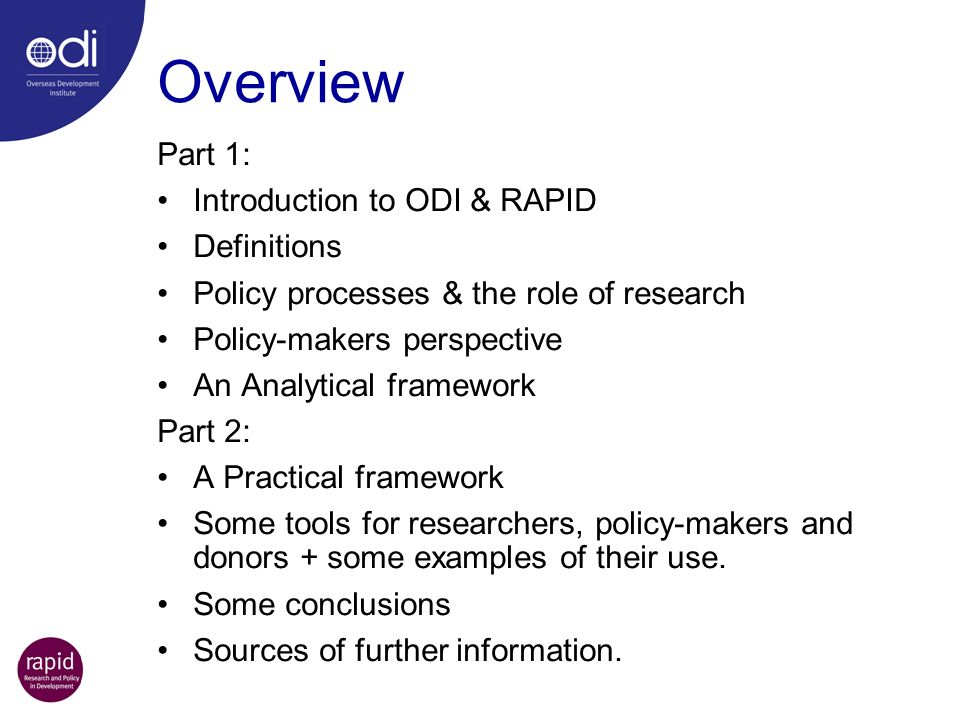 Overview Part 1: Introduction to ODI & RAPID Definitions